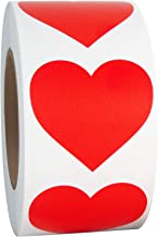 "Red Heart Shaped Sticker Labels, 1 1/2"" Diameter, 500 per Roll, 1.5 inch"