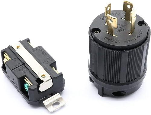 lowest RV AC Generator Plug online sale Set, 125V/250V Male outlet sale & Female Locking Receptacle Socket, L14-30P & L14-30R Chemical-Resistant Housing (1 Set) online sale