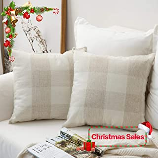 MIULEE Pack of 2 Christmas Classic Retro Checkers Plaids Cotton Linen Soft Solid Cream White and White Decorative Throw Pillow Covers Home Decor Cushion Case for Sofa Bedroom Car 24 x 24 Inch