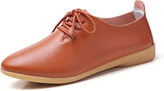 YUHUAWYH Women's Leather Shoes Classic Lace Up Dress Low Flat Heel Oxford Comfort Casual Slip On Moccasin Driving Shoes