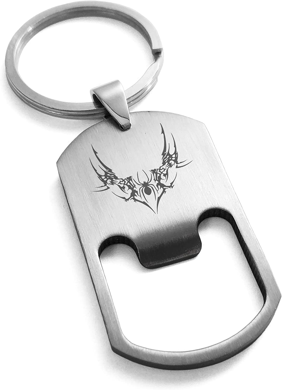 Tioneer Stainless Steel Wicked Black Widow Bottle Opener Dog Tag Keychain Keyring