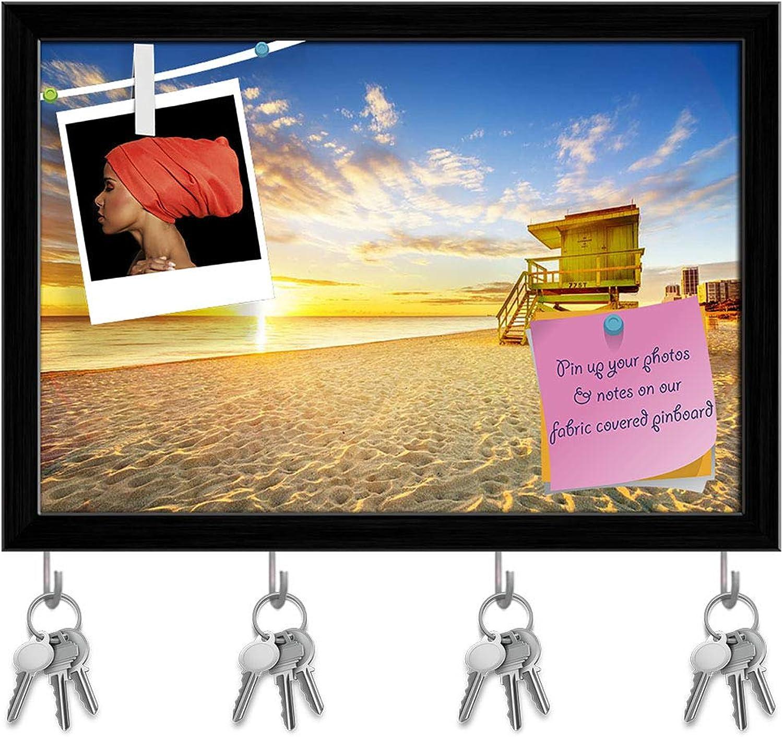 Artzfolio Miami South Beach Sunrise, USA Key Holder Hooks   Notice Pin Board   Black Frame 17.3 X 12Inch