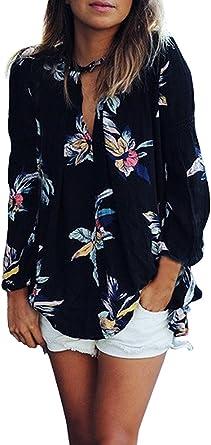 Camisas Mujer Manga Larga Negras Gasa Elegantes Vintage Estampadas Flores Hippie Suelto Fashion Casual Primavera Otoño Blusas Blusones Camisetas Tops