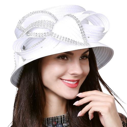 0fbe1786f8d Women Kentucky Derby Dress Church Wedding Party Feather Bucket Hat S608-A