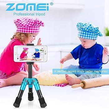 ZOMEI ZM-HR-CK30-Blue-01 Lightweight Compact Aluminum Alloy Mini Desktop Tabletop Tripod with 360 Degree Panoramic Ba...