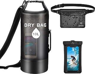 comprar comparacion SYOSIN Bolsa seca impermeable de 10 l/20 l + bolsa para teléfono + bolsa para vagabundos Set de 3 mochila flotante, ligera...
