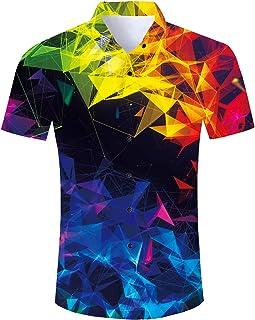 Spreadhoodie Mens Hawaiian Shirt Casual Funky Short Sleeve Summer Beach T-Shirts Tops Blouse M-XXL