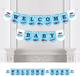 Big Dot of Happiness Taking Flight - Airplane - Vintage Plane Baby Shower Bunting Banner - Party Decorations - Welcome Baby