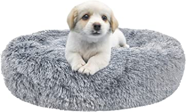 SHU UFANRO Dog Beds for Large Medium Small Dogs Round, Cat Cushion Bed, Calming Pet Beds Cozy Fur Donut Cuddler Improved S...