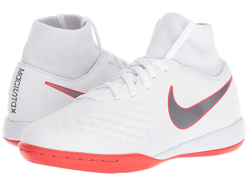 Nike Kids Jr. Magista ObraX 2 Academy Dynamic Fit IC Soccer (Little Kid/Big Kid) (White/Metallic Cool Grey/Light Crimson) Kids Shoes