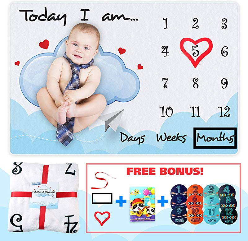 Baby Milestone Blanket Soft Baby Blanket 2 Props Photo Album Milestone Stickers Ribbon Flannel Fleece 250gsm 60x40in Photography Background For Newborn Girl Or Boy Baby Shower Gifts