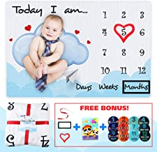 Global MC Group Baby Milestone Blanket, Soft Baby Blanket + 2 Props+ Photo Album+ Milestone Stickers+ Ribbon, Flannel Fleece 250gsm, 60x40in, Photography Background for Newborn Girl or Boy