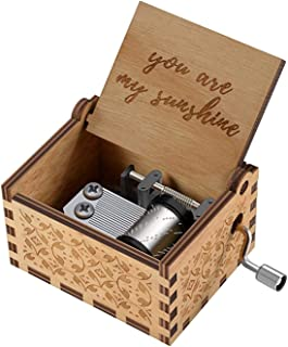 MAKINGTEC Wood Hand Crank Engraved Vintage Wooden Music Box Wedding Valentine Christmas Birthday Gift You are My Sunshine ...