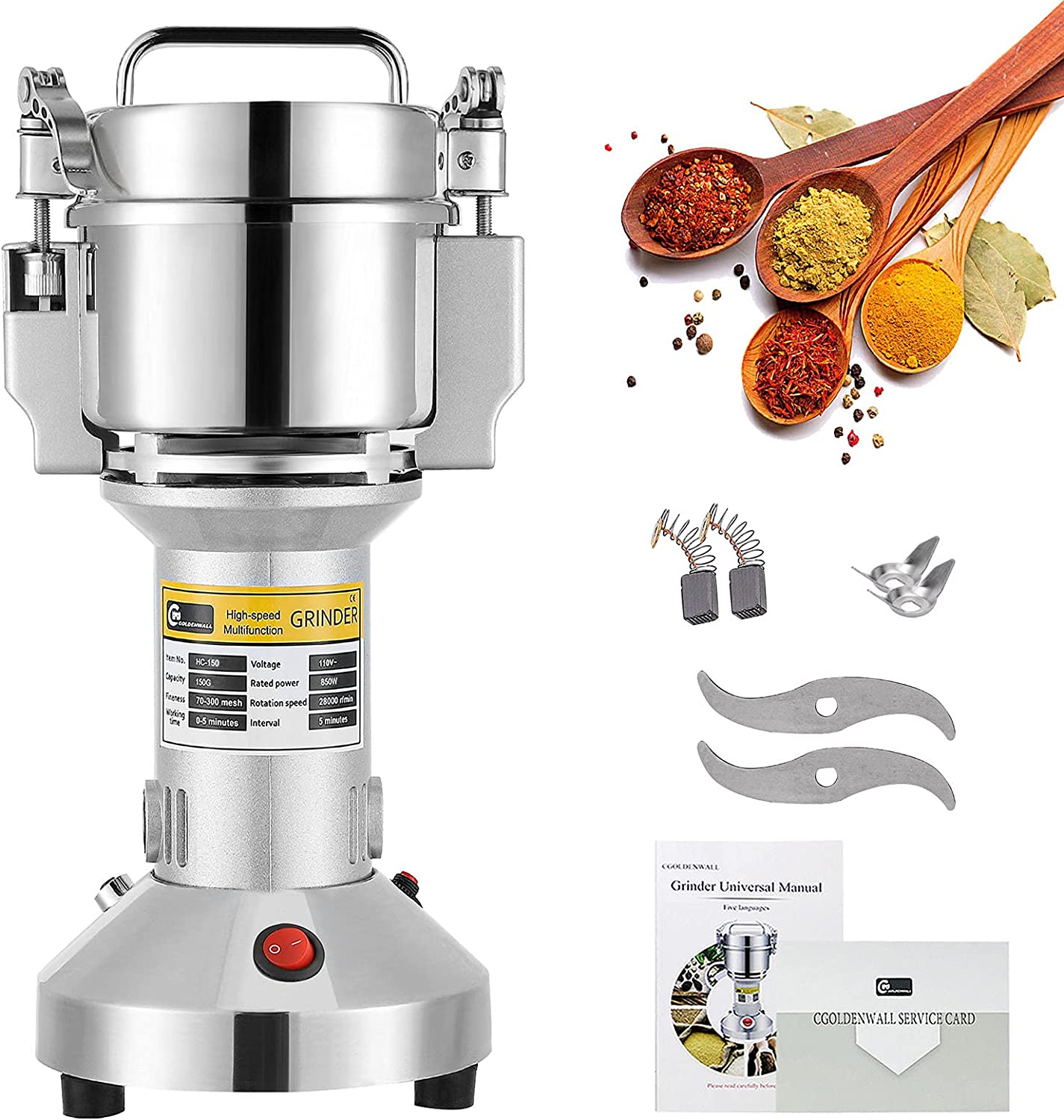 CGOLDENWALL 150g Grain Grinder Electric Popularity Small Max 69% OFF Spice Mill