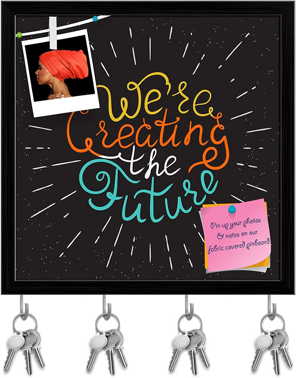 Artzfolio We are Creating The Future Key Holder Hooks   Notice Pin Board   Black Frame 20 X 20Inch