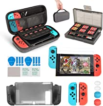 Accessory Kit for Nintendo Switch,innoAura 11 in 1 Switch Bundle Include Carrying Case, Game Card Slot Holder, TPU Cover, Joy Con Covers, Thumb Caps, Screen Protector