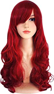 Women's Long Spiral Curly Cosplay Wig Heat Resistant Dark Red with Wig Cap Full Wig