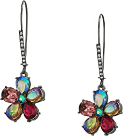 Stone Flower Long Drop Earrings