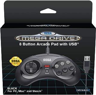 Retro-Bit RET00125 SEGA USB Mega Drive 8-Button Controller, Black