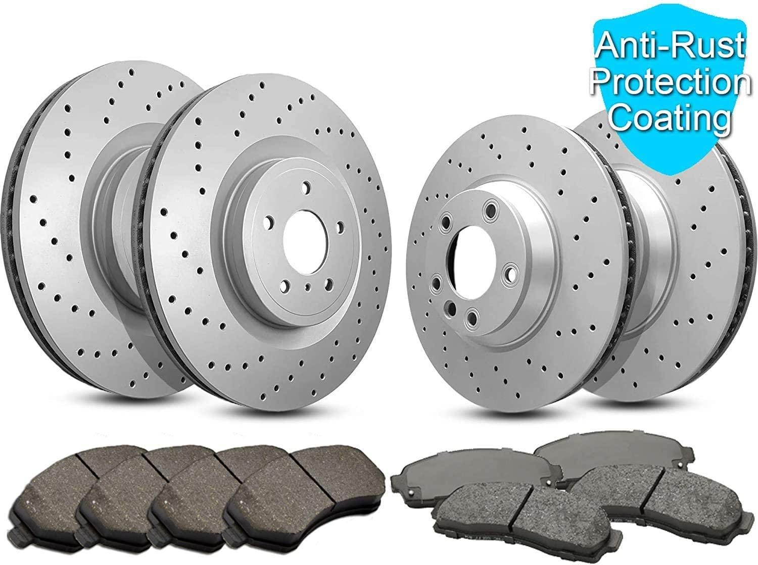Front and Rear Magnum Max 59% OFF Cross Rotors Ceramic overseas Drilled Brake