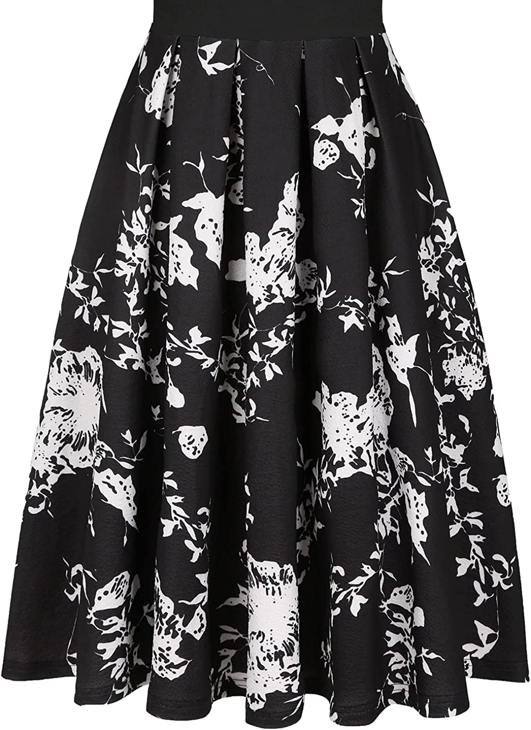 CHICCLOTH Women's Classic Retro Flower Dress Elegant 50 s Fit and Flare Cute V Neck 3/4 Sleeve Casual Fall Homecoming Wedding Guest Dresses with Pockets(Black M)