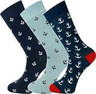 Calcetines de diseño de tobillo unisex Ancla 3 pares 01