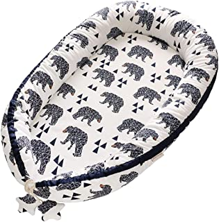 Borje Baby Lounger, Portable Super Soft Organic Cotton and Breathable Newborn Lounger, Perfect for Co-Sleeping (Bear)