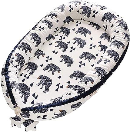 Borje Tumbona de bebé, portátil super suave de algodón orgánico y transpirable para recién nacido, perfecto para dormir