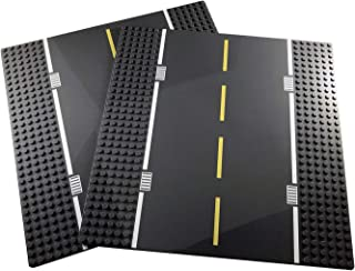 """Classic Building Block Road Base Plates Compatible with All Major Brands 10"""" x 10"""" Straight Street Baseplates (2X Straight)"""