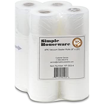 4 Pack - SimpleHouseware 8'' x 25 Feet Vacuum Sealer Rolls Bags (total 100 Feet)