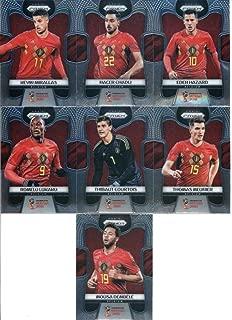 2018 Panini Prizm World Cup Soccer Belgium Team Set of 12 Cards: Eden Hazard(#13), Dries Mertens(#14), Axel Witsel(#15), Jan Vertonghen(#16), Kevin De Bruyne(#17), Thomas Vermaelen(#18), Mousa Dembele(#19), Romelu Lukaku(#20), Thibaut Courtois(#21), Thomas Meunier(#22), Kevin Mirallas(#23), Nacer Chadli(#24)
