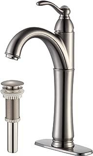 Kraus FVS-1005-PU-10SN Riviera Single Lever Vessel Bathroom Faucet with Matching Pop Up Drain Satin Nickel