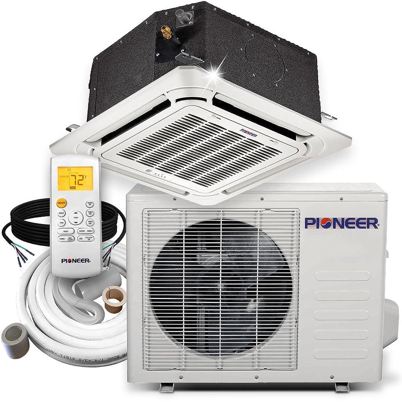 Pioneer Ceiling Cassette Split Ductless Inverter+ Heat Pump System Set, 12000 BTU