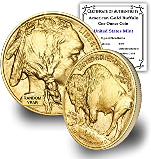 2006 - Present (Random Year) 1 oz American Gold Buffalo Coin Brilliant Uncirculated 24K w/Certificate of Authenticity by CoinFolio $50 BU