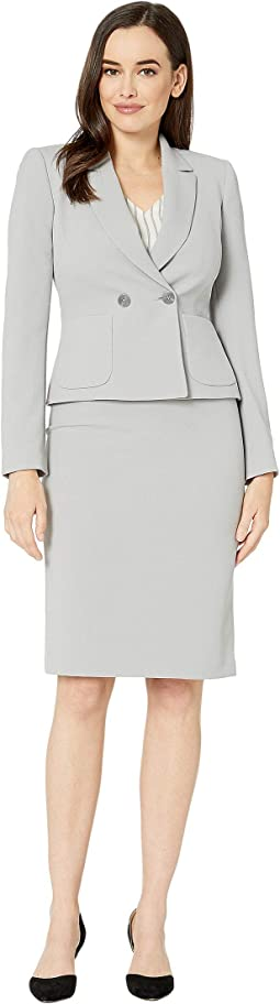 Crepe Skirt Suit with Flat Pocket