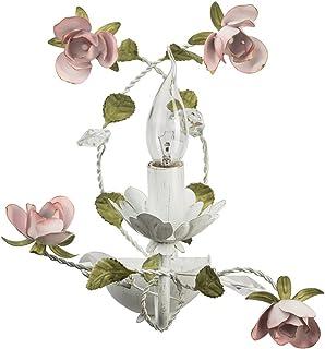 MW-Light 421022801 Applique Murale Intérieure Design Floral en Métal Blanc Doré Lampe Bougie avec Fleurs Feuilles Cristaux...