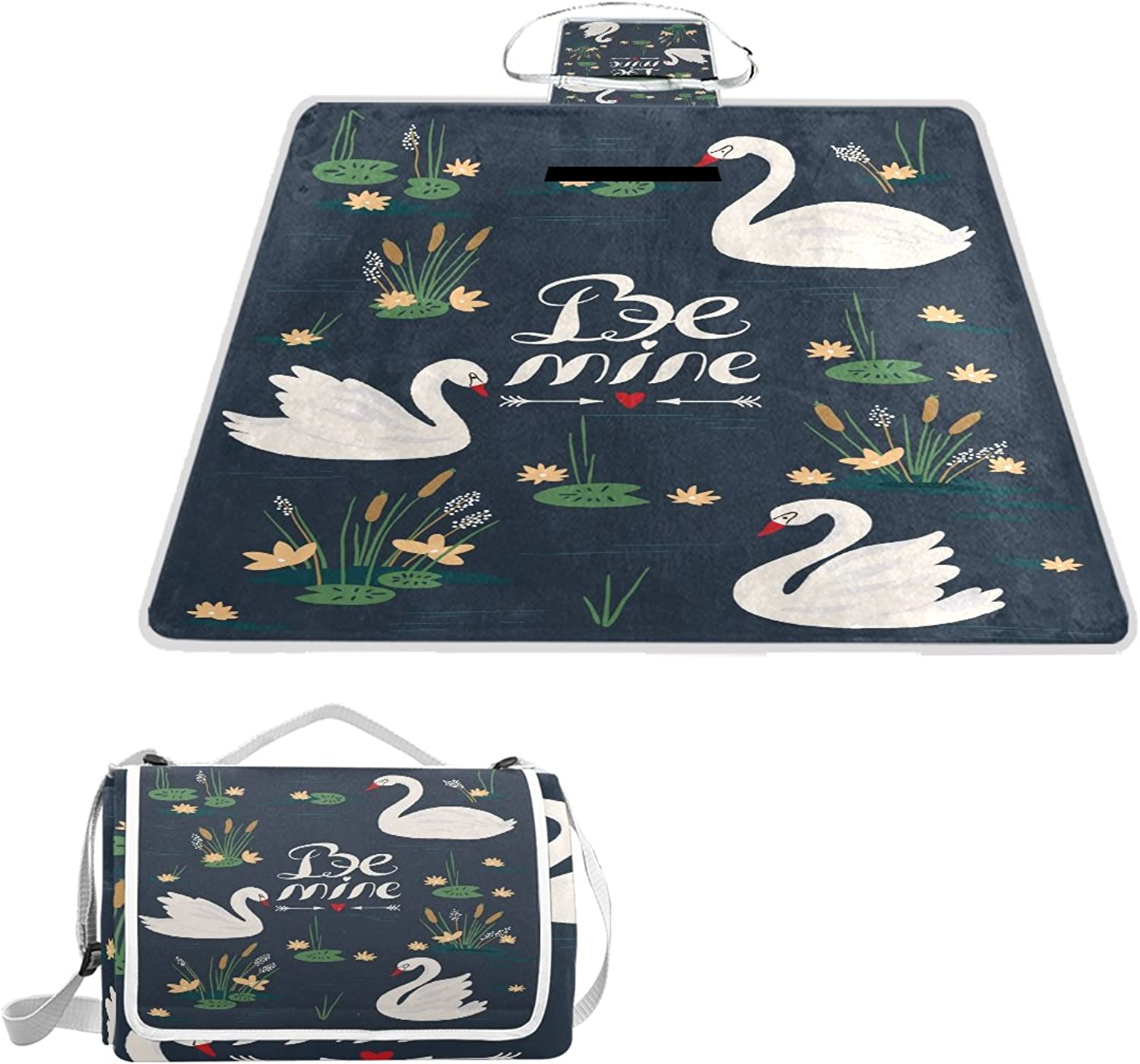 LiKai Picnic Blanket Swans Flowers Foldable Portable Waterproof Outdoor Travelling Camping Beach Mat