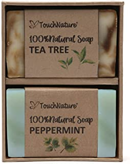 Touch Nature Peppermint and Tea Tree Soap in Brown Box. Gentle and Moisturizing. Perfect Gift for Women and Girls. 2pc 80gm.