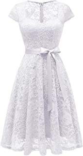 Women's Casual Wedding Dress Short Simple Lace Cocktail Party Dress Ivory