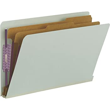 """Smead 100% Recycled End Tab Pressboard Classification File Folder with SafeSHIELD Fasteners, 2 Dividers, 2"""" Expansion, Legal Size, Gray/Green, 10 per Box (29810)"""