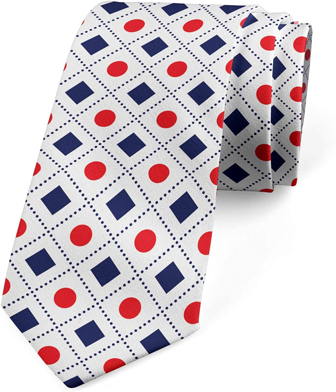 Ambesonne Necktie, Circles Squares, Dress Tie, 3.7