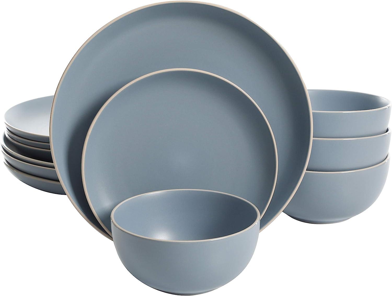 Gibson Home Rockaway Round Stoneware Dinnerware Set Sale Special Bargain sale Price Service for