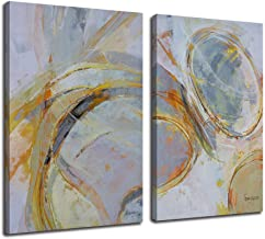 Canvas Wall Art Abstract Circle Stripes Yellow Painting Prints, Modern Geometric Vertical 24