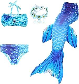 15d40cd5c8b74 DAXIANG Fille 3pcs Nageoire de Sirene Maillots de Bain Mermaid avec  Ailerons Bikini Ensembles