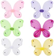6 Pack Girls Butterfly Fairy Costume Wings for Kids Pretend Play Dress up in 6 Colors