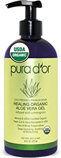 PURA D'OR Organic Aloe Vera Gel, Lemongrass Scent (16oz) USDA Certified - Deeply Hydrating, Moisturizing Skin & Hair - Sunburn, Bug Bites, Rashes, Small Cuts, Eczema Relief (Packaging may vary)