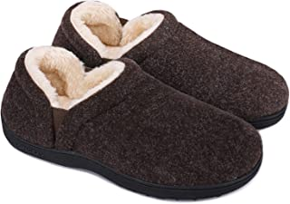 LongBay Men's Warm Memory Foam Slippers Faux Fur Lined Winter House Shoes with Adjustable Elastic Gores