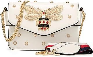 Damen Umhängetasche Mode Bienentasche Umhängetasche Mamabeutel Kettenbeutel Mädchen Tasche (21X8X15cm, Weiß)