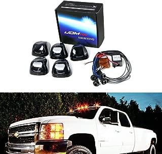 iJDMTOY (5) Amber LED Black Smoked Cab Roof Marker Lights w/Wireless Remote Control Strobe Flash Blink Module Box