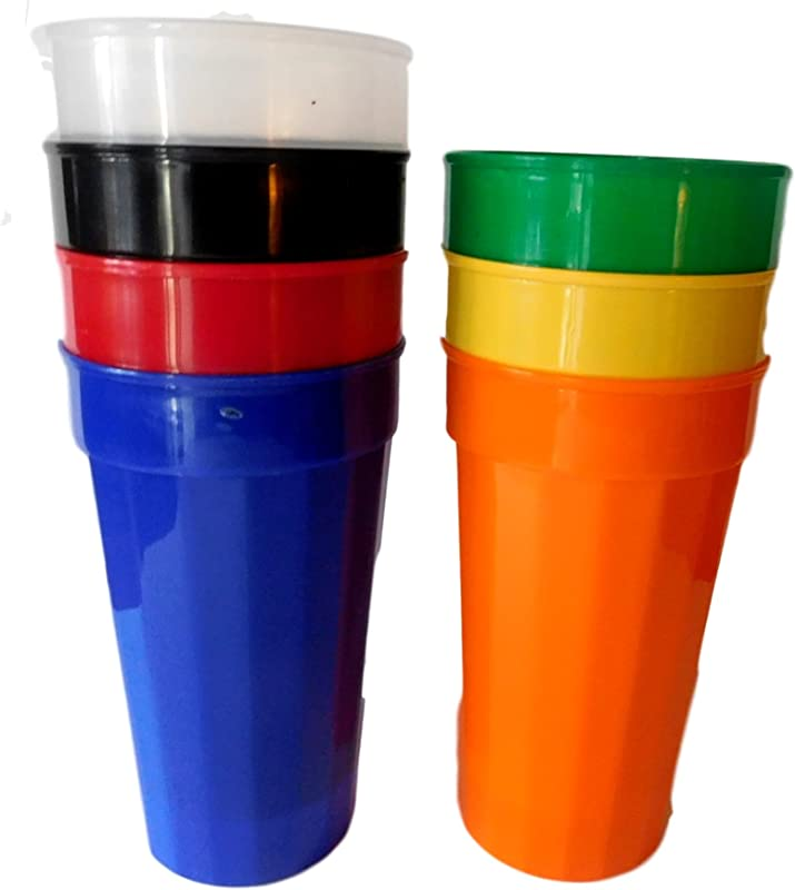 7 Large 32 Oz Tumblers Red Orange Green Yellow Blue White Clear Made USA